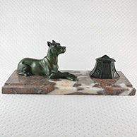 Antique Inkstand - Dog - Great Dane - German Mastiff