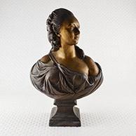 Antiek Beeld - Buste van Madame du Barry, Maîtresse van Lodewijk XV. Verbronsd buste met gouden patina. Eind van de 19e eeuw