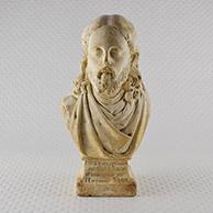 Antiek Beeld, Buste van Jezus Christus. Gepatineerd beeld in pleister. Gestempeld P.F.H. Van Cleef. Getekend P.F.H. Van Cleef. Gedateerd 1858