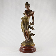 Antique Sculpture - Peureuse - Frightened Young Woman